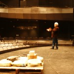 Ron Shields demonstrates the acoustics in the 400-seat Donnell Theatre.