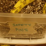 Safety pins await their next job in the costume shop.